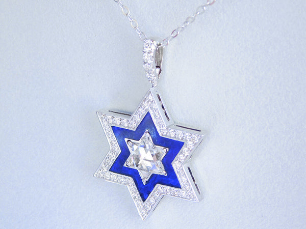 Enamel and Diamond Star of David Pendant