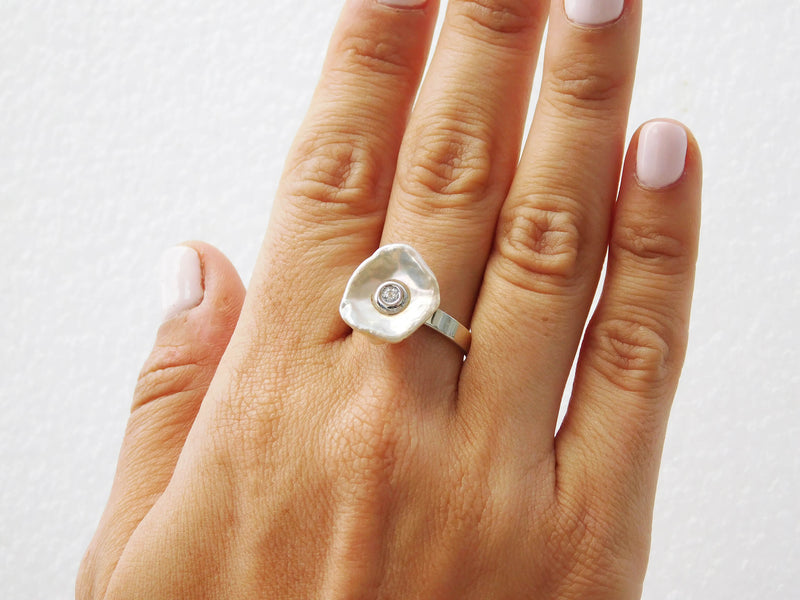 Amorphous Pearl Ring with Diamond