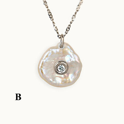 Aqua Round Diamond Mother of Pearl Pendant