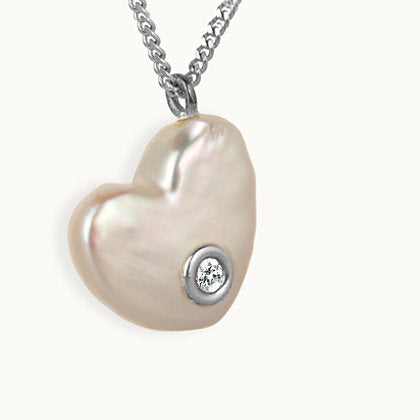 Precious Pearl With Diamond Silver Heart Necklace