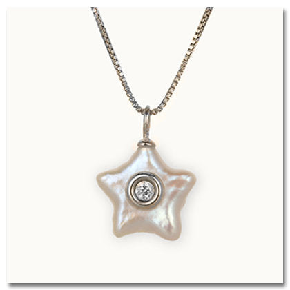 Sea Star Pearl with Diamond Pendant
