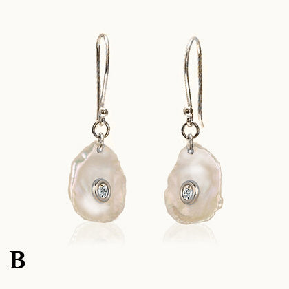 Coral Mother of Pearl Diamond Earrings
