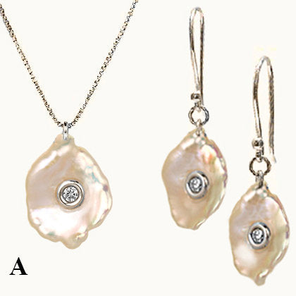Ocean Set Mother of Pearl With Diamonds