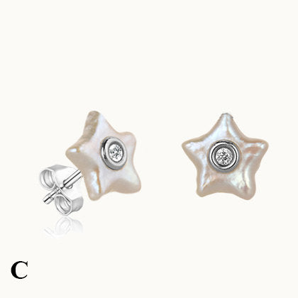 Aqua Star Pearl Stud Earrings