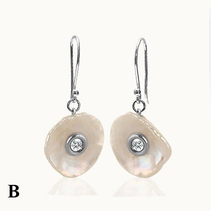 Lake Pearl With Diamond Silver Hook Earrings