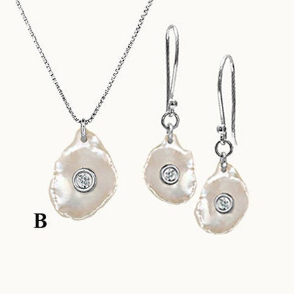 Pearl with diamond, Mother of Diamond, WAVES SET, Pearl Sterling Silver 925 set, Elongated Sterling Silver 925 Pearl set