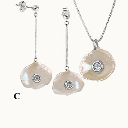 Clams Pearl with Diamond Silver Set