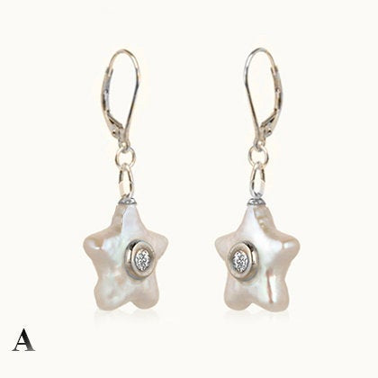 Wave Start Pearl With Diamond Gold Earrings