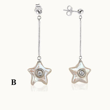 Ocean Pearl with Diamond Star Earrings