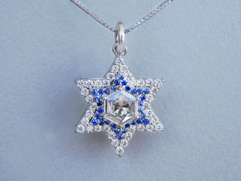 Luxury David Star Blue Diamonds Pendant