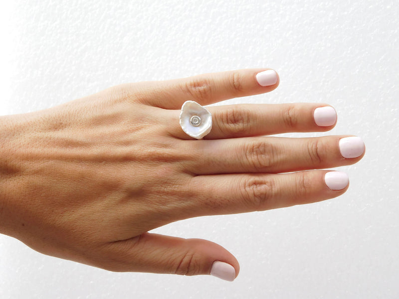 Diamond Mother of Pearl Silver Ring