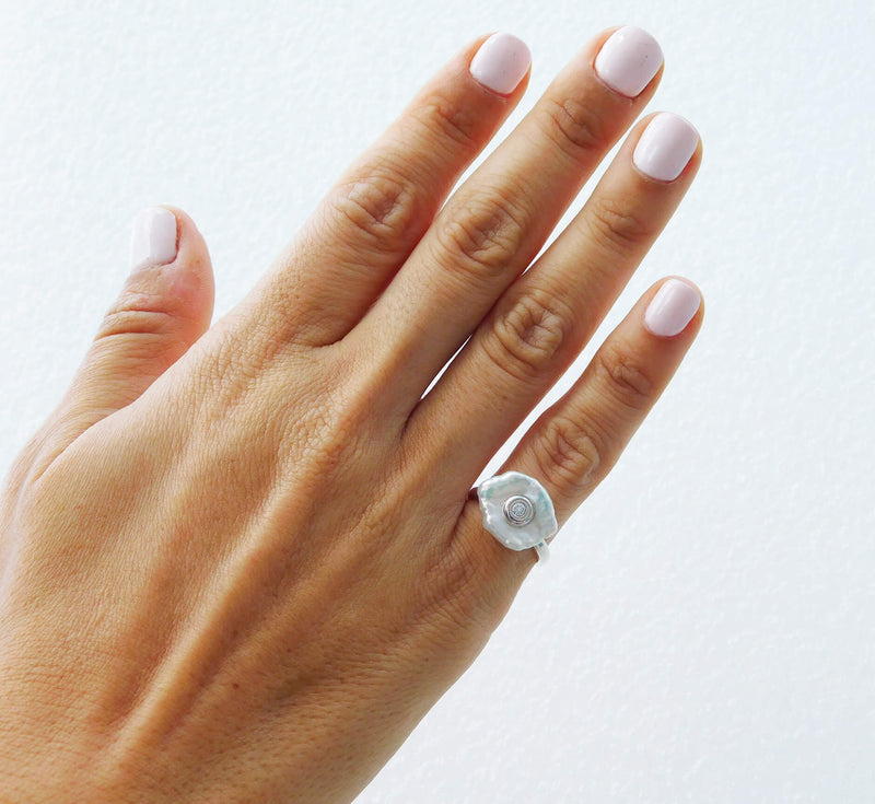 Opal Pearl With Diamond Ring