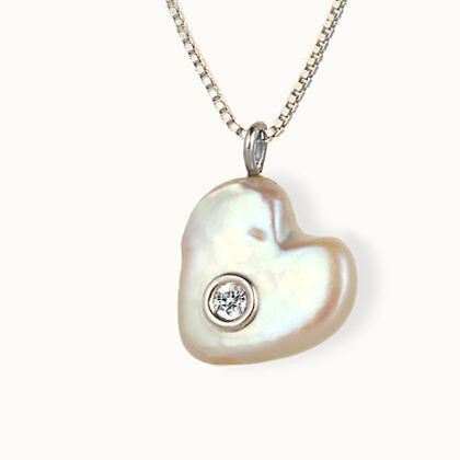 Pearl with diamond, Mother of Diamond, SEA HEART PEARL , Pearl gold necklace, Heart Gold Pearl necklace, 14K Gold