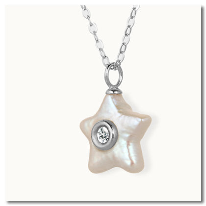 Ocean Star Mother of Pearl Diamond Necklace