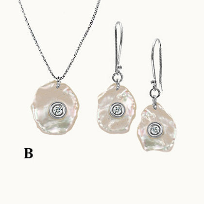 Pearl with diamond, Mother of Diamond, PRECIOUS SET, Pearl Sterling Silver 925 set, Amorphous Sterling Silver 925 Pearl set
