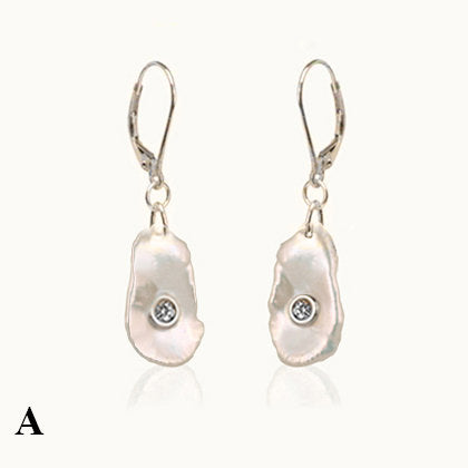 Canary Mother of Pearl and Diamond Earrings