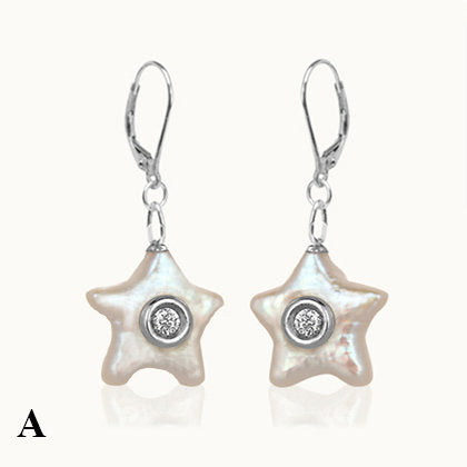 Waves Star Pearl Diamond Silver Earrings