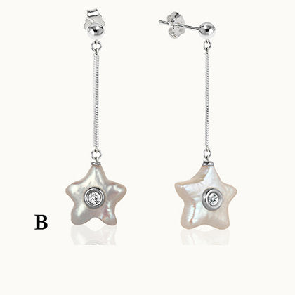 Sea Star Pearls Silver Drop Earrings