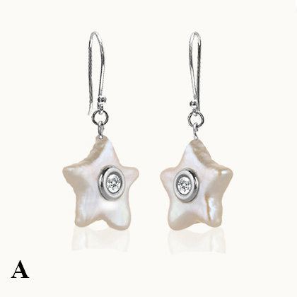 Coral Star Mother of Pearl & Diamond Dangle Earrings