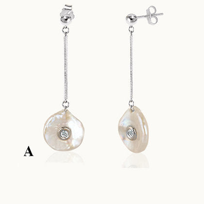 Pearl with diamond, Mother of Diamond, RIVER, Pearl gold drop earrings, Round Gold Pearl earrings, 14K Gold, Designer jewelry for women