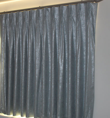 blue and silver curtains with triple pleat handmade heading