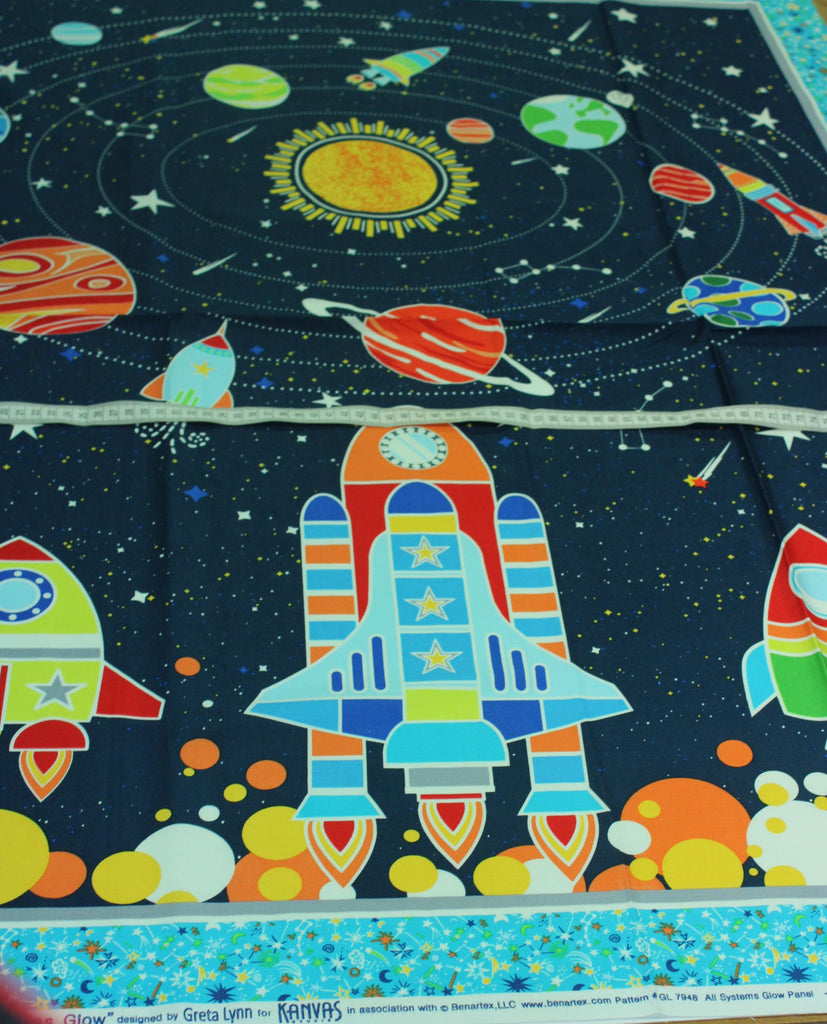 """All Systems Glow "" Glow in the dark children's fabric quilt panel"