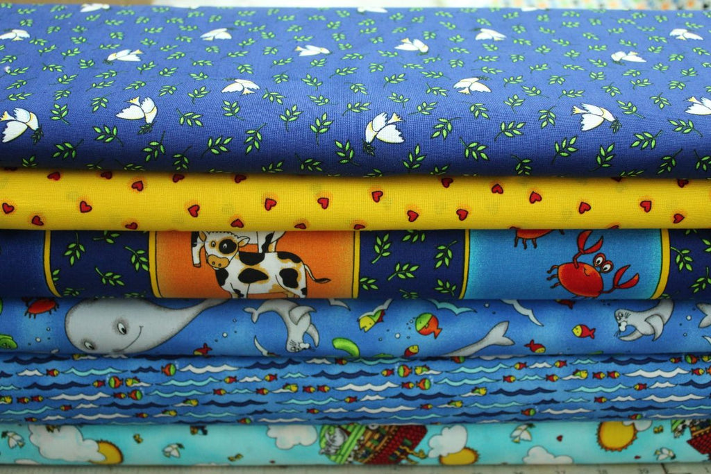 Noah's Arc collection of children's fabrics for quilting, crafting and dressmaking, multicoloured