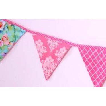bunting in pink and blue floral colourways