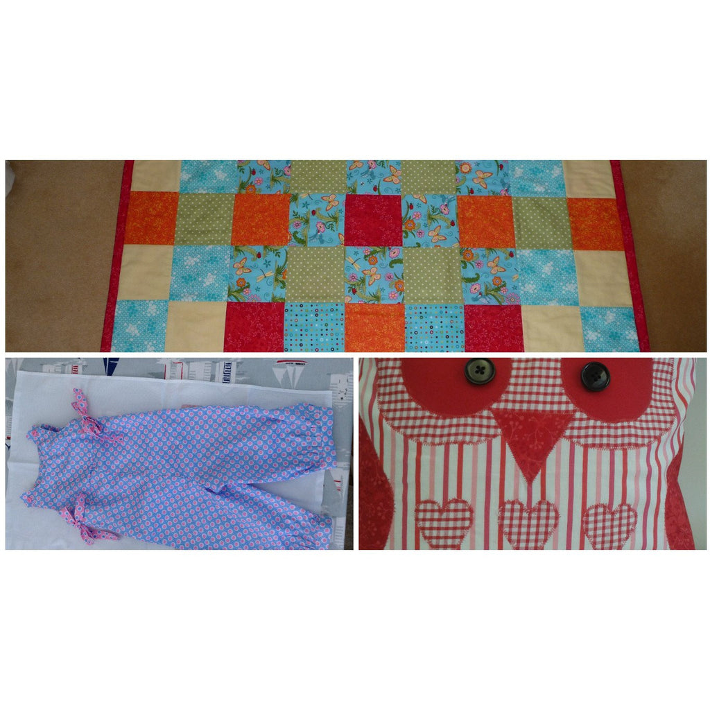 Image shows student's work, a patchwork baby quilt, child's dungaree playsuit and Owl cushion made in course