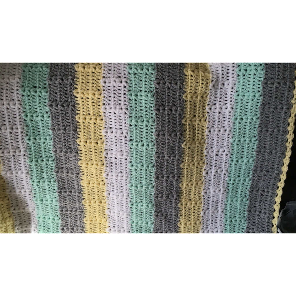 Crochet blanket in white mint grey and yellow stripes.  Crochet course