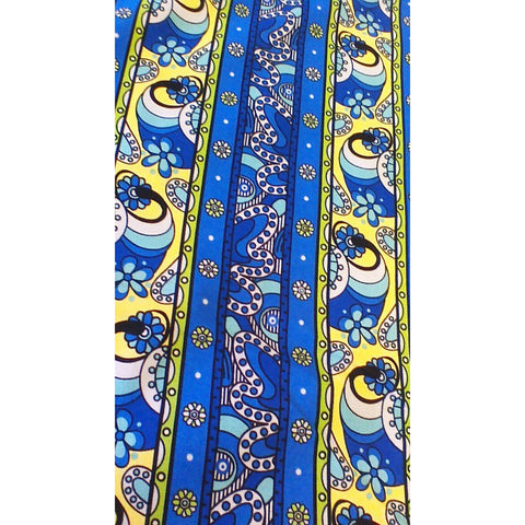 royal blue with yellow cotton fabric