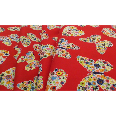 Red, ditsy flowers, hearts and  butterfly fabric