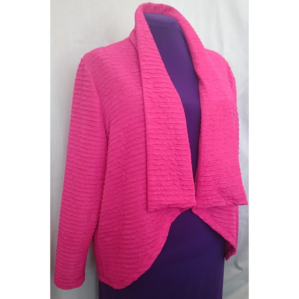 Hot Pink Big Girl's Blouse Jacket with waterfall colour, softly rounded front made from cofortable textured Jersey 26 - MadOnSewing