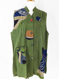 Pure Fit Collared Patch Vest-Multi Print-Green - 209621-GE