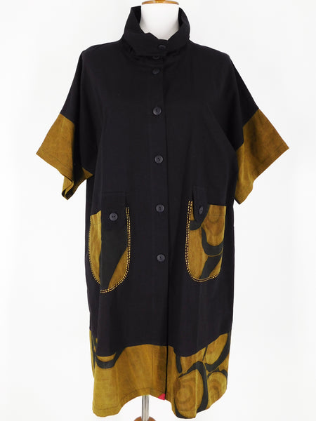 Pure Fit Mao Mam Button Front Combo Tunic - Kanzashi Print - Black 209622-BK