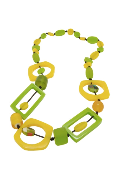 Nusantara Lime Yellow Resin Necklace - 81464