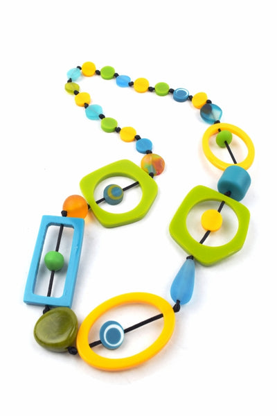 Nusantara Yellow Lime Teal Resin Necklace - 82269