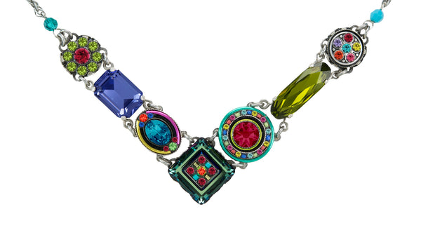 "Firefly 8411MC Dulce Vita Crystal ""V"" Necklace Multicolor"