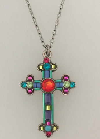 Firefly Mosaic Cross Necklace 8565