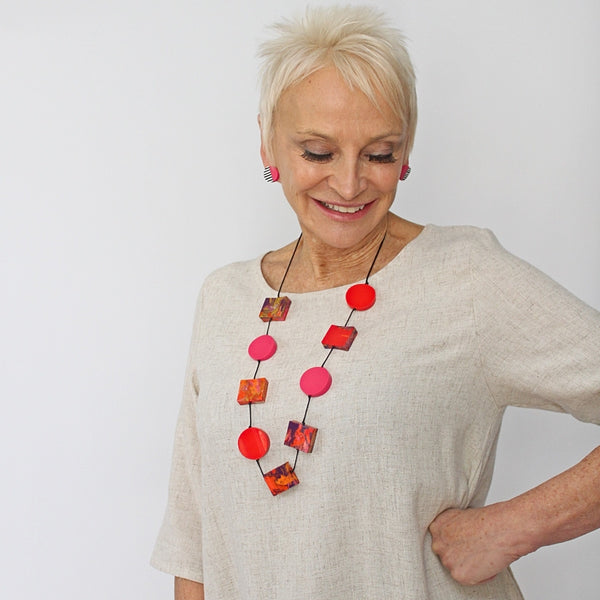 Sylca Pink & Red Chloe Necklace