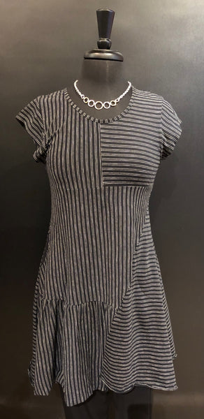 Flutter Weekend Dress - Black and White Stripe DR921