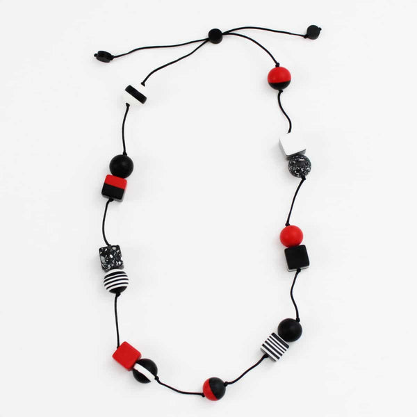 Sylca Black White Red Geometric Madeline Necklace AE19N37-RED