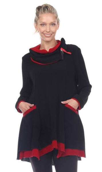 Moonlight CM9189 Contrasting Red/Black Tunic/Dress