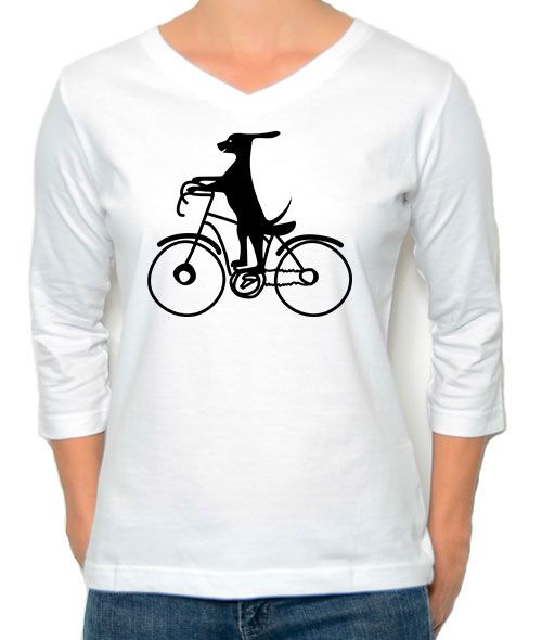 Marüshka White DOG ON A BIKE T-Shirt