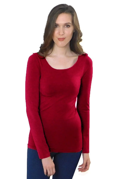 Elietian One Size Long Sleeve Top - Red