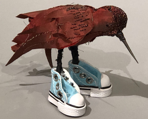 Leonor Pisano Iridescent Wine Fabric Humming Bird With Blue Shoes