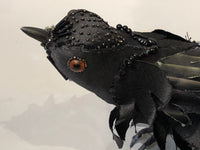 Leonor Pisano Black Satin Beaded Bird