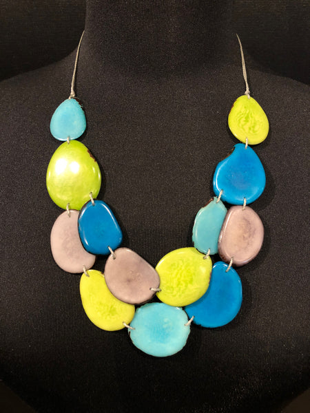 Canoa CLASSIC Aqua/Lime Tagua Necklace