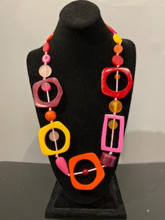 Nusantara Resin Necklace - Pink/Orange - 81468