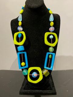 Nusantara Resin Necklace - Lime/Teal - 81465